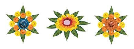 使用万寿菊或zendu花和红色玫瑰花瓣被做的花rangoli的储蓄例证屠妖节的或pongal或者onam在wh 免版税库存照片