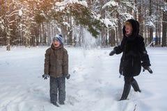 使用与一个小男孩的妇女在一个多雪的冬天公园 免版税库存照片