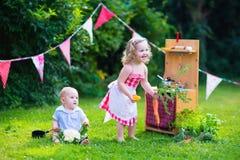 使用与一个玩具厨房的孩子在一个夏天从事园艺 免版税库存照片