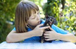 使用与一只黑小猫的男孩 库存照片