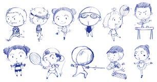 使用与不同的体育的人蓝色乱画设计  库存图片