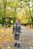 使用与五颜六色的叶子的一个小女孩的秋天照片在公园 免版税库存图片