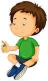 使用与光的绿色衬衣的男孩 向量例证