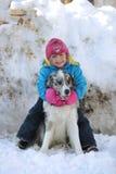 使用与博德牧羊犬的女孩 图库摄影