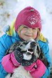 使用与博德牧羊犬的女孩 库存照片