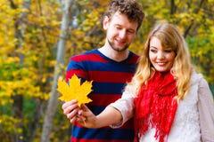 使用与叶子的夫妇在秋天公园 免版税库存照片