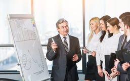 使用与图和图的一个立场企业队头解释给他的同事方法销售成长, 库存图片