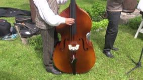 使用与在农业市场的低音提琴的音乐家 股票视频