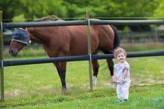 使用与在农场的一匹马的逗人喜爱的滑稽的婴孩 图库摄影
