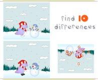 使用与在冬天草甸的雪人的紫色龙 Educati 免版税库存图片
