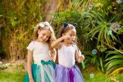 使用与在夏天自然的肥皂泡的两个愉快的美丽的小女孩,一个女孩佩带一只蓝色耳朵老虎 库存照片