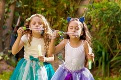使用与在夏天自然的肥皂泡的两个愉快的美丽的小女孩,一个女孩佩带一只蓝色耳朵老虎 库存图片