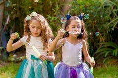 使用与在夏天自然的肥皂泡的两个愉快的美丽的小女孩,一个女孩佩带一只蓝色耳朵老虎 免版税图库摄影