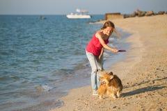 使用与在海滩的一条狗的女孩 免版税图库摄影