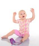 使用与在空白背景的一张照片的婴孩 免版税库存图片