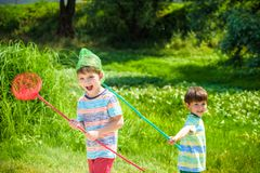 使用与在草甸的瓢网的两个小兄弟姐妹兄弟在温暖和晴朗的夏天或春日 图库摄影