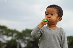 使用与在草的泡影的日本男孩 免版税图库摄影
