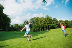 使用与在绿色草甸的风筝的愉快的男孩在公园 免版税库存照片