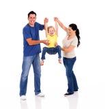 使用与女儿的父项 免版税图库摄影
