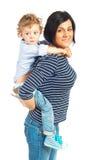 使用与她的儿子的愉快的母亲 图库摄影