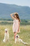 使用与她的在街道的狗的妇女 库存图片