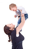 使用与她的孩子的母亲 库存图片