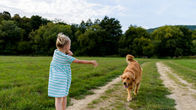 使用与她逗人喜爱的爱犬金毛猎犬的可爱的学龄前女孩 免版税库存照片