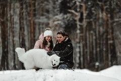 使用与小狗的朋友在公园 免版税库存照片