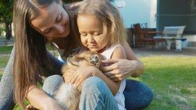 使用与小狗的母亲和孩子在室外一个温暖的夏日 免版税库存图片