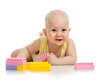 使用与建筑的男婴设置了在空白背景 图库摄影