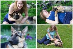 使用与德国牧羊犬的女孩 图库摄影