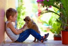 使用与心爱的小狗的激动的男孩 免版税图库摄影