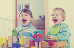 使用与木玩具的情感兄弟姐妹 免版税库存图片