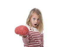 使用与橡胶脑子的年轻美好的女孩6到8岁获得学会科学概念的乐趣 免版税图库摄影