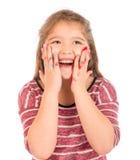 使用与油漆的逗人喜爱的小女孩 免版税图库摄影