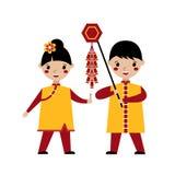 使用与爆竹的亚洲孩子 向量例证