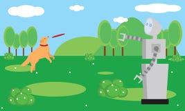 使用与狗的国内机器人在庭院 免版税库存图片