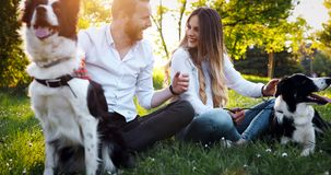 使用与狗的夫妇 图库摄影