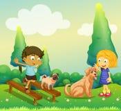 使用与狗的男孩和女孩在公园 皇族释放例证