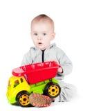 使用与玩具卡车的孩子 库存照片
