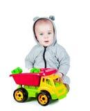 使用与玩具卡车的孩子 库存图片