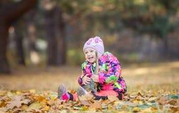 使用与玩具恐龙的小女孩在秋天公园 免版税库存图片