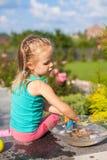 使用与玩具的小逗人喜爱的女孩在围场 库存图片