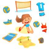 使用与球的女孩在标签设计的沙滩排球集合 排球的运动器材 详述的动画片 库存图片