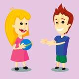 使用与球-传染媒介的孩子 免版税库存照片