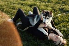 使用与用不同的眼睛的滑稽的多壳的狗的美丽的少妇户外在绿草的公园 库存照片