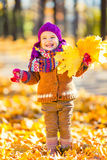 使用与秋叶的小女孩 免版税库存图片