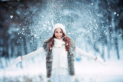 使用与雪的女孩在公园 库存图片