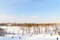 使用与雪的孩子在降雪以后在冬日在布加勒斯特Tineretului公园  免版税库存图片