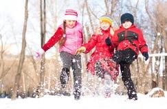 使用与雪的男孩和女孩在冬天公园 免版税库存照片